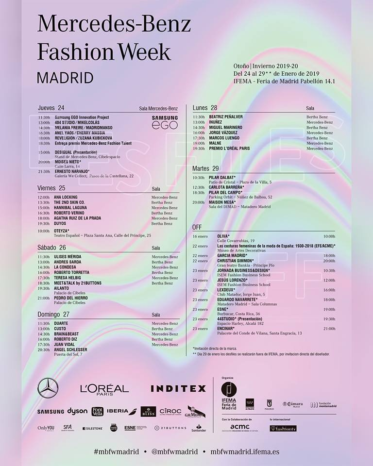 Calendario Madrid Fashion week 2019